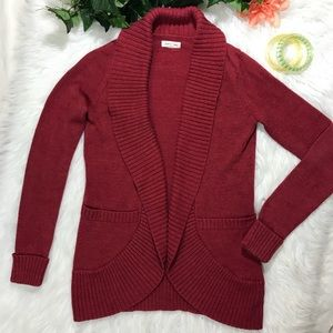 Silence+Noise UO Red Shawl Collar Open Front Cardi